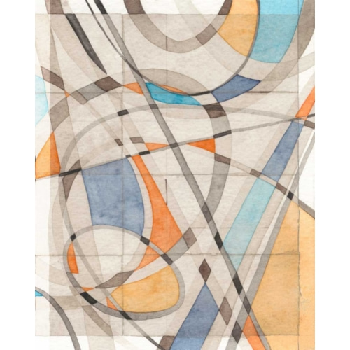 Ovals and Lines II 추상 그림 포스터