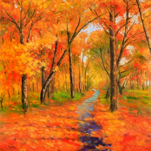 Autumn Trail in the Forest 계절 그림 포스터